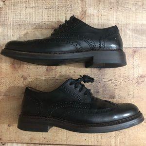 Frye Black Leather Wingtip oxford Derby shoes sz 9